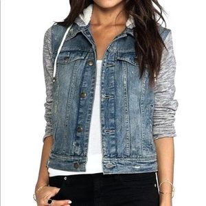 NEW w/o tags Free people knit hooded jean jacket
